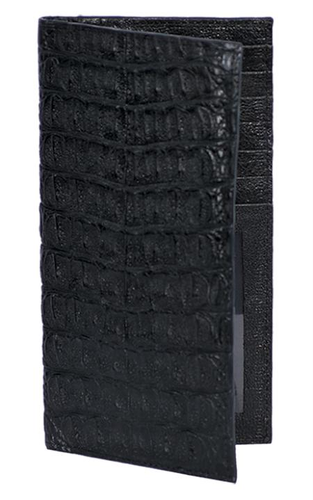 SKU#LAB1988 Wallet ~ billetera ~ CARTERAS Black Genuine Crocodile Check Book Holder Wallet