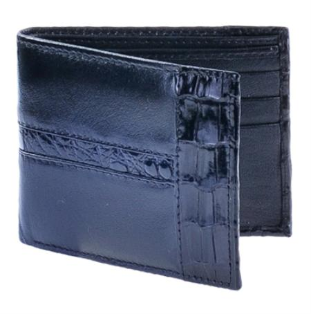 SKU#BKL1832 Los Altos Black Genuine Leather w/ Crocodile Card Holder Wallet $59