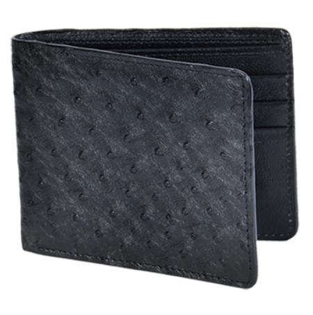 SKU#MIJ1832 Los Altos Black Genuine Ostrich Card Holder Wallet $109