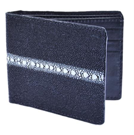 SKU#GNU0181 Wallet ~ billetera ~ CARTERAS Black Genuine Stingray Rowstone Card Holder Wallet