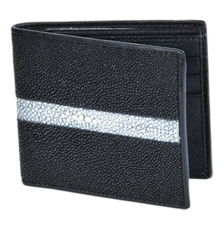 SKU#STN9128 Wallet ~ billetera ~ CARTERAS Black Genuine Stingray Rowstone Finish Card Holder Wallet