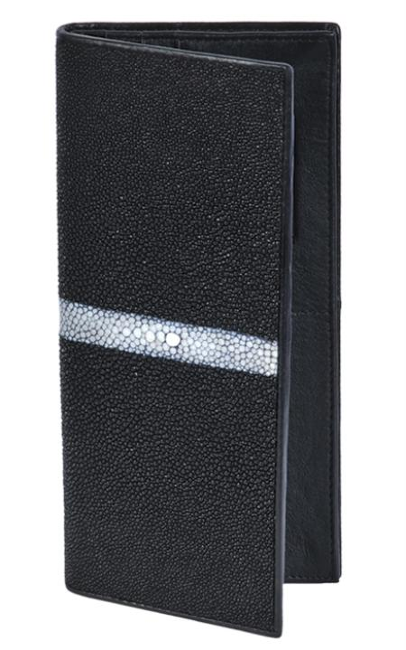 SKU#CHQ7091 Wallet ~ billetera ~ CARTERAS Black Genuine Stingray Single Stone Check Book Holder Wallet