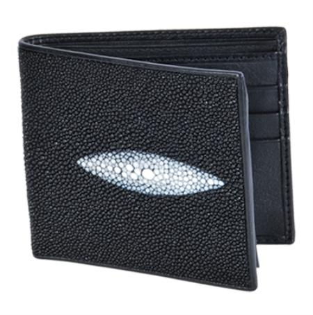 SKU#HGI6811 Los Altos Black Genuine Stingray Single Stone Finish Card Holder Wallet $75