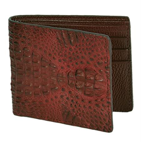 SKU#BCF7572 Los Altos Brown / Cafe Genuine Gator Card Holder Wallet $109