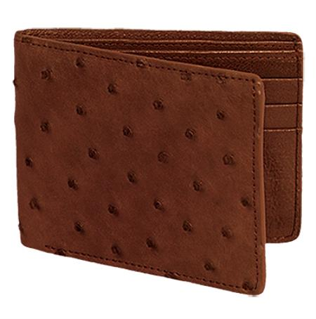 SKU#BCE6873 Los Altos Brown / Cafe Genuine Ostrich Card Holder Wallet $109