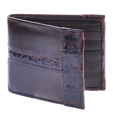 SKU#LEA9644 Los Altos Brown Genuine Leather w/ Crocodile Card Holder Wallet $59