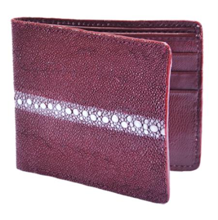 SKU#BYU4773 Wallet ~ billetera ~ CARTERAS Burgundy ~ Maroon ~ Wine Color Genuine Stingray Rowstone Finish Card Holder Wallet $75