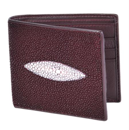 SKU#STG1022 Los Altos Burgundy Genuine Stingray Single Stone Finish Card Holder Wallet $89