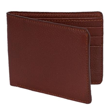 SKU#CKL1782 Wallet ~ billetera ~ CARTERAS Cognac Genuine Elk Card Holder Wallet