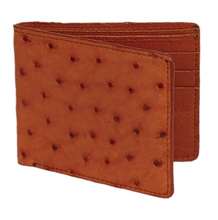 SKU#WQC5524 Wallet ~ billetera ~ CARTERAS Cognac Genuine Ostrich Card Holder Wallet