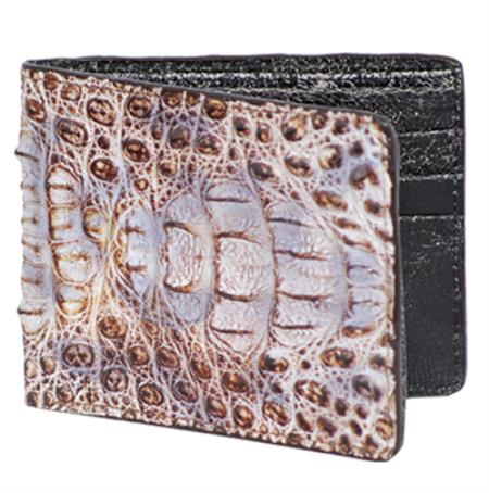 SKU#NRT6662 Los Altos Natural Genuine Crocodile Card Holder Wallet $109