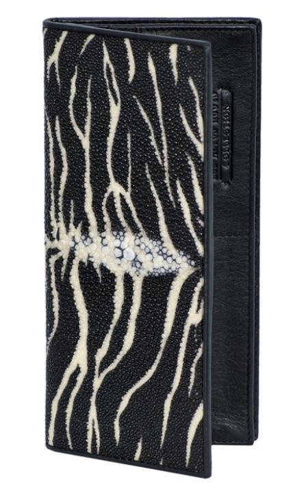 SKU#TGR4343 Los Altos Tiger Black Genuine Stingray Single Stone Check Book Holder Wallet $89