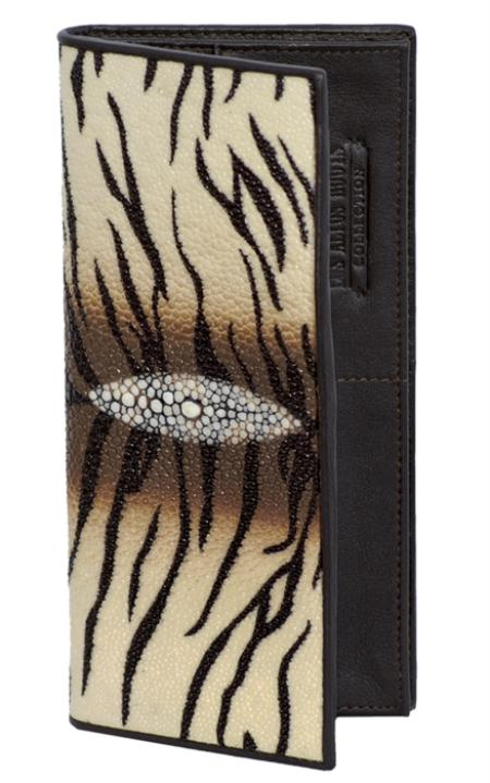 SKU#TEB2323 Los Altos Tiger White Brown Genuine Stingray Single Stone Check Book Holder Wallet $89