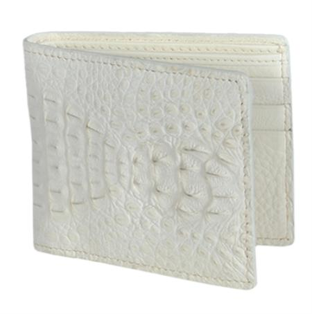 SKU#WIW1815 Los Altos Cream ~ Ivory ~ Off White Genuine Crocodile Card Holder Wallet $109