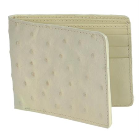 SKU#WHL3772 Los Altos Cream ~ Ivory ~ Off White Genuine Ostrich Card Holder Wallet $109