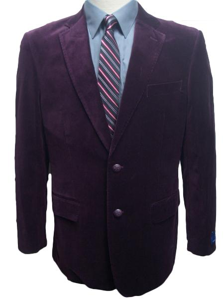 MensUSA Mens 2 Button Dark Burgundy Plum Eggplant Velvet Blazer at Sears.com