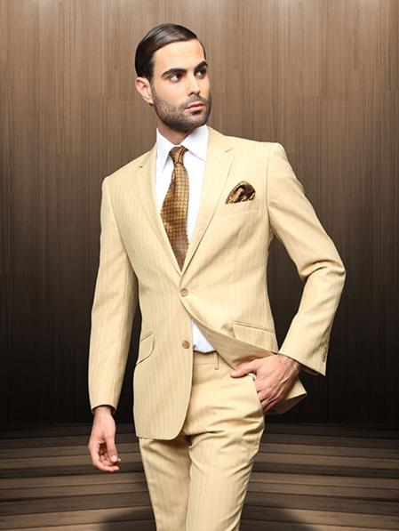 SKU#CAM8152 2 Button Camel Suit Comes With Shirt, Tie $199