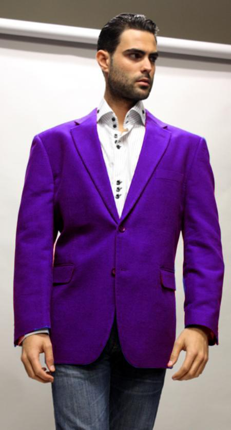 SKU#DPL1453 Dark Purple Super 150s Velvet Fabric Sport Coat