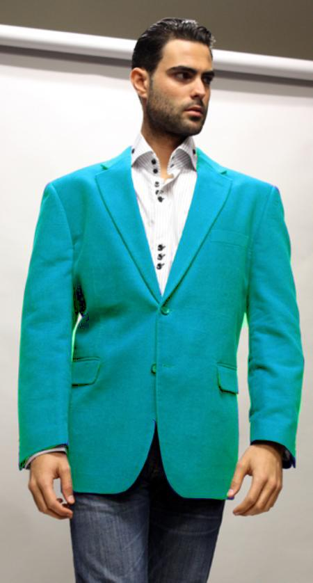 SKU#TQS9916 turquoise ~ Light Blue Stage Party Super 150's Velvet Fabric Sport Coat