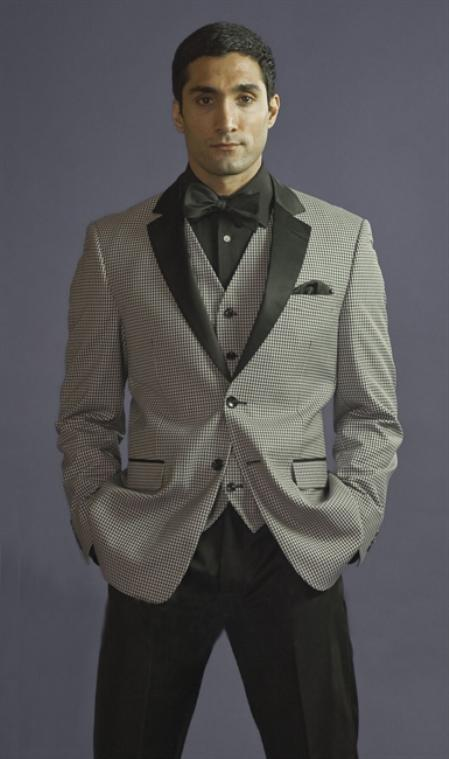 SKU#BHG7912 2 Button 3 Piece Black Checkered Fitted Tuxedo $199