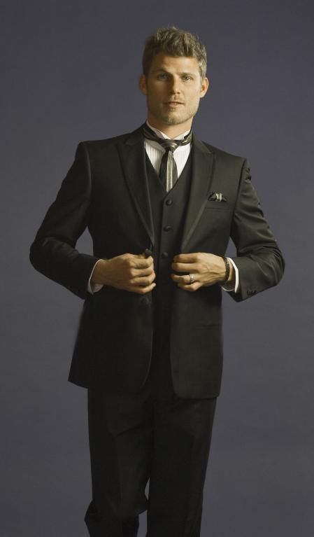 SKU#EMA0112 2 Button 3 Piece Peak Lapel Slim Fit Tuxedo Black $225