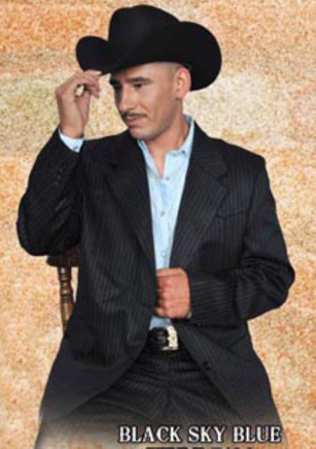 SKU#BSK0157 Mens Western Suit Black/Sky Blue $239