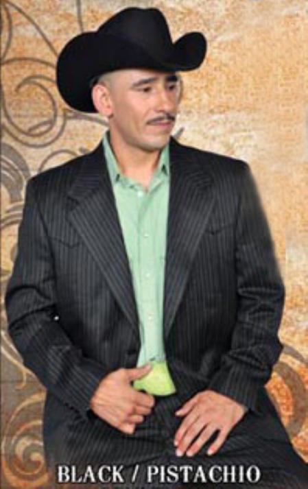SKU#BPS7878 Mens Western Suit Black/Pistachio $239