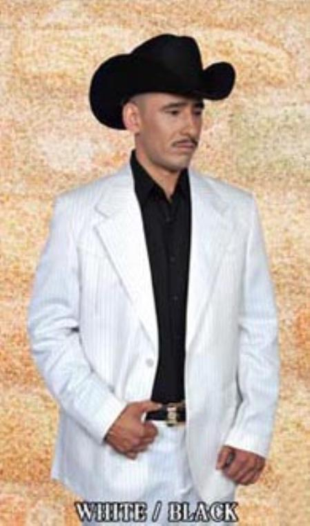 SKU#BLW7976 Mens Western Suit White/Black $239