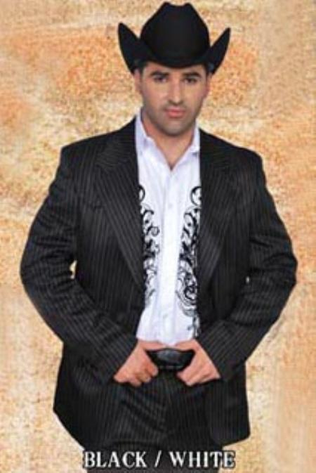 SKU#WBL8912 Mens Western Suit Black/White $239
