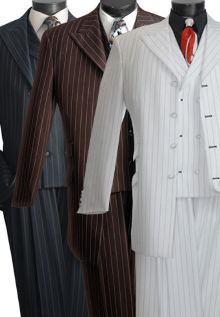 SKU#WRT7110 Bold Stripe Three Piece Suit Black, White, Brown $139