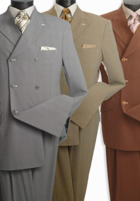 SKU#MRG5367 High Fashion Double-Breasted Suit Mustard, Rust, Grey $139