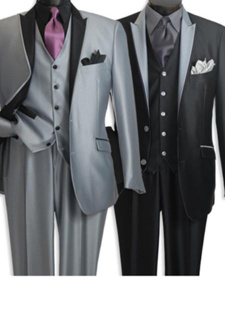 SKU#BSL0191 High Style Shark Skin  Suit with Special Details Black & Silver $139