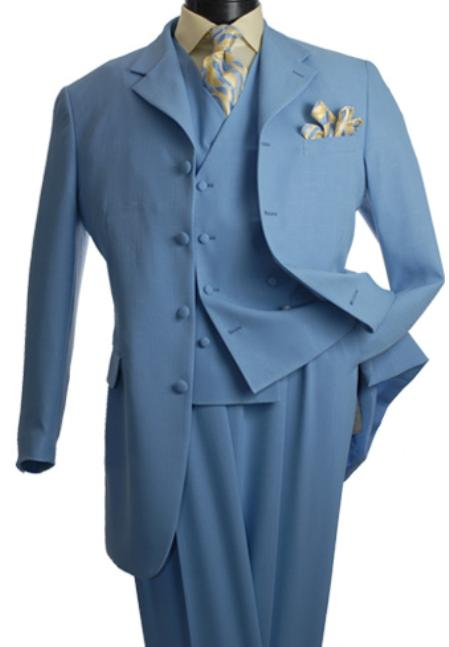 SKU#BLU1925 3-Piece Suit with Vest in Blue $139