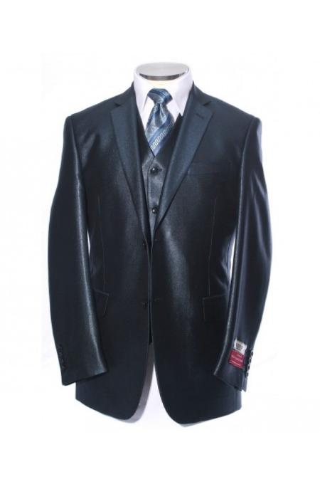 SKU#BLU0192 Shiny Satin Metallic Bright Sharkskin 2 Button Style Blue $225