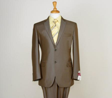 SKU#BWN0124 Shiny Satin Metallic Bright Sharkskin 2 Button Style Brown $225