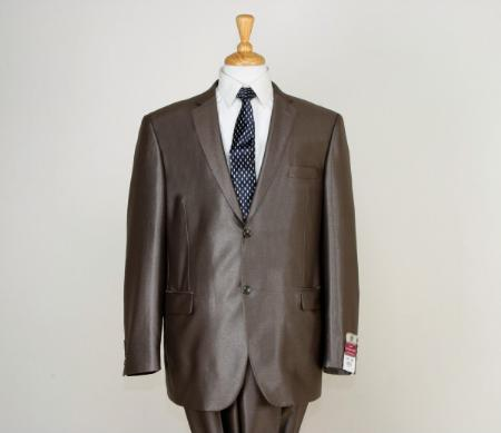 SKU#BRN1781 Shiny Satin Metallic Bright Sharkskin 2 Button Style Brown $225