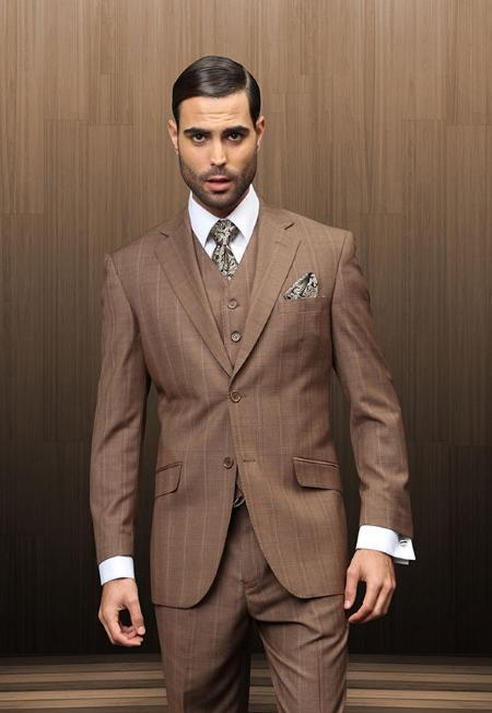 SKU#VBM9282 Mens 2 Button Vested Brown Windowpane Suit Comes with Shirt & Tie $285