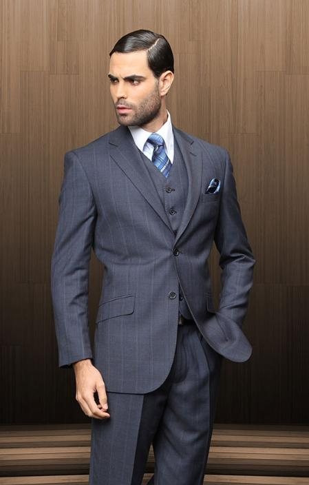 SKU#NAV2178 Mens 2 Button Vested 3 Piece Navy Blue Windowpane Plaid Suit