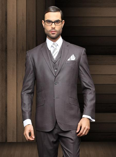SKU#CHL9891 Mens Slim 2 Button Charcoal Vested Suit Comes With Free Shirt & Tie $285