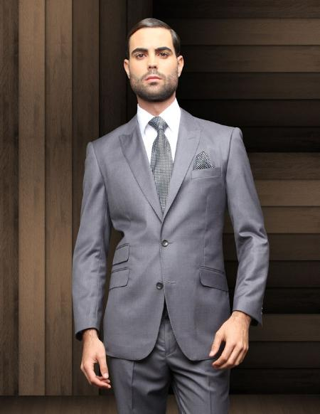 SKU#CHL6813 2 Button Charcoal Slim Fit Comes W/ Shirt & Tie $285