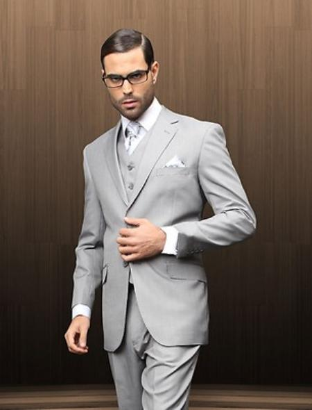 Mens 2 Button Vested Grey Textured Suit Comes With Free Shirt & Tie