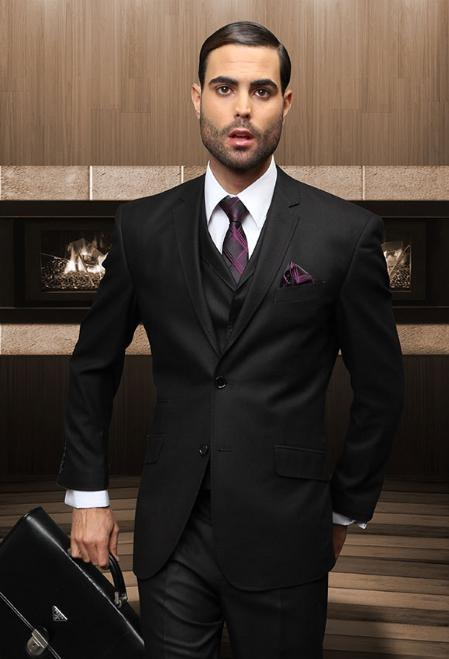 SKU#BLK1892 Tapered Leg Lower rise Pants & Get skinny Mens Slim 2 Button Black Vested Suit Comes With Free Shirt & Tie $165