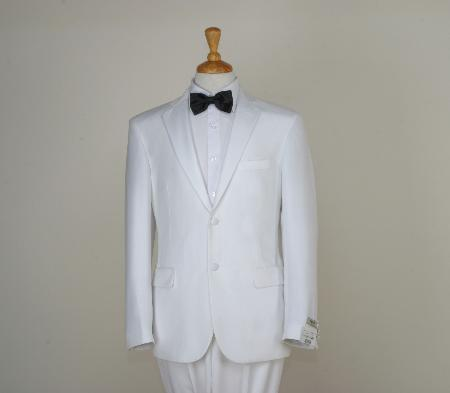 SKU#CWH7016 Mens Classic White Two Button Tuxedos