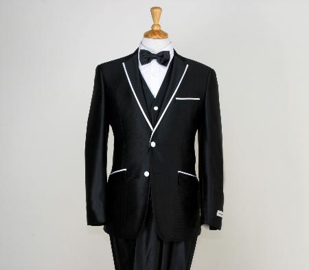 SKU#BHJ9233 Mens Designed Black Two Button Tuxedos $195