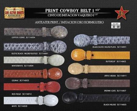 "SKU#SA5546 Anteater Print Mens Cowboy Belt 1.5"" Width $89"