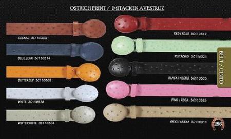 SKU#PS6657 Ostrich Print Mens Cowboy Belt 1.5