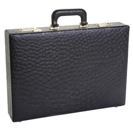 SKU#BLK9671 Full Genuine Ostrich Sport Briefcase Black & Brown $874