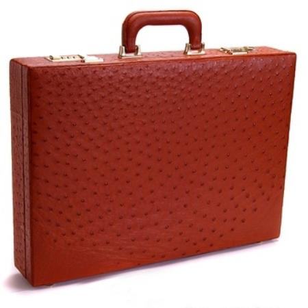 SKU#CON7912 Full Genuine Ostrich Sport Briefcase Cognac $874