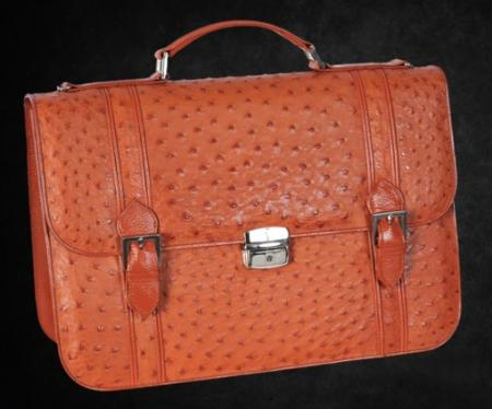 SKU#BCO7019 Full Genuine Ostrich Sport Briefcase in Black, Brown, Oryx, Cognac $774