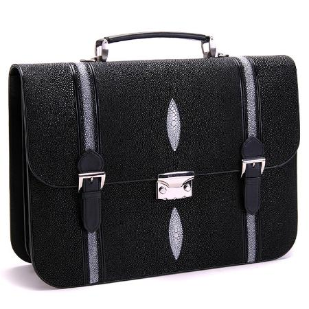 SKU#BBB8101 Full Genuine Stingray Sport Briefcase in Black, Burgundy ~ Maroon ~ Wine Color, Buttercup $700